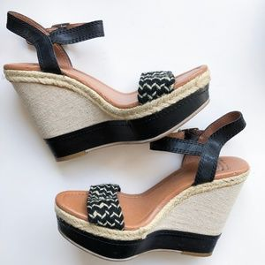 Lucky Brand Black and Tan Espadrille Leather Wedge